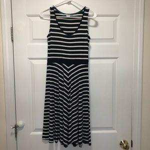 Boden a-line full skirt chevron/stripe dress, 6